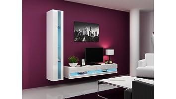 BMF VIGO NEW VIII WALL UNIT IN MATT & HIGH GLOSS TV CABINET - WHITE