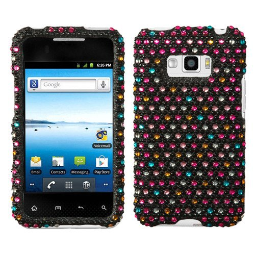 Asmyna Lgls696Hpcdm202Np Dazzling Diamante Bling Case For Lg Optimus Elite/Optimus M+/Optimus Plus E696 - 1 Pack - Retail Packaging - Sprinkle Dots