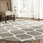 Safavieh Hudson Shag Collection SGH280B Grey and Ivory Moroccan Ogee Plush Round Area Rug (5 Diameter)