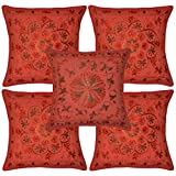 Heavy Embroidered Home Furnishing Cotton Pillow Covers 16 Inches 5 Pcs - B00L7NE6WW