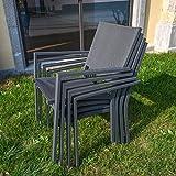 Domi-Palma-7-teiliges-Freizeit-Esstisch-Set-fr-die-Terasse-textilenbezogene-Gartenmbel-aus-Aluminium-bestehend-aus-1-modernen-rechteckigen-Glastisch-4-stapelbaren-Sthlen-und-2-faltbaren-Sthlen