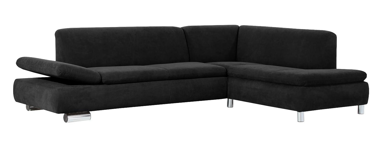 Max Winzer 28712632051740 Polsterecke Tournai 2.5-Sitzer mit Ecksofa rechts samtiges Flachgewebe, schwarz