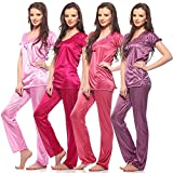 Jp Satin Night Suit Top & Pyjama ( Pack of 4 )