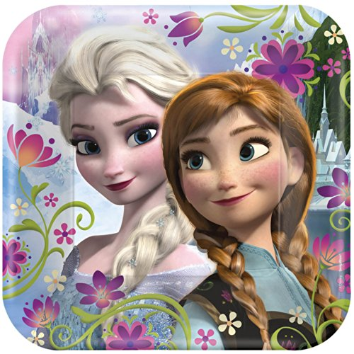 "Disney's Frozen Party 9"" Square Lunch/Dinner Plates (pack of 8) - 1"