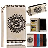 [Off to College]For iPhone 7 Wallet Case,Valentoria Mandragora Flower Premium Vintage Emboss Leather Wallet Pouch Case with Wrist Strap for iPhone 7 (iPhone 7, White)