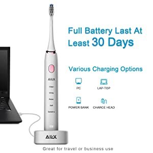 AIEX Sonic Electric Toothbrush with 3 Replacement Heads Rechargeable Electronic Toothbrush with Holder White Travel Toothbrush with 5 Modes/IPX7 Waterproof/USB Wireless Charging/Smart Timer/Travel Bag (Color: white)