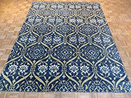 8 x 10 HAND KNOTTED TRANSITIONAL BLACK WILLIAM MORRIS OUSHAK ORIENTAL RUG