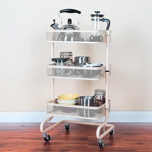 Cremagliera di carrelli a ruote di cucina/rack mobile/ortaggio pavimento scaffalatura/ordinare/[Scaffale da bagno]-B