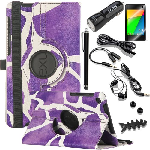 Pandamimi Ulak(Tm) Rotating Case For Google Nexus 7 Fhd 2Nd Gen 2013 Android Tablet 360 Degree Rotation Support Vertical And Horizontal Multi Angle Stand Auto Wake / Sleep W/10In1 Bundle Kits /1/Car Charger/Usb Cable/Earphne/ 1Xscreen Protector 1Xtouch St