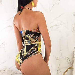 Swimsuit for Women Tummy Control,Women Plus Size Print Tankini Swimjupmsuit Swimsuit Beachwear Padded Swimwear Yellow (Color: Yellow, Tamaño: Medium)