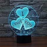 3D LOVE Gift Illusion Bedroom Night Light, Elstey 7 Color Change LED Desk Table Lamp