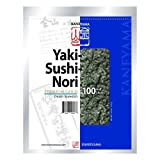 Kaneyama Yaki Sushi Nori / Dried Seaweed (Vacuum-packed/re-sealable), Premium Gold Blue, Half Size, 100 Sheets