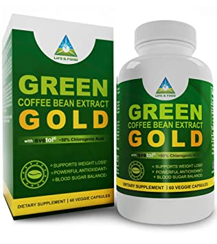 Green Coffee Bean Extract GOLD - 100% PURE Authentic PATENTED Ingredient (50% Chlorogenic Acid, SEVTOL® Grade), 800 Mg Servings, 60 Count | All Natural Weight Loss Supplement | All Veggie Capsules with ZERO Fillers, or Artificial Ingredients
