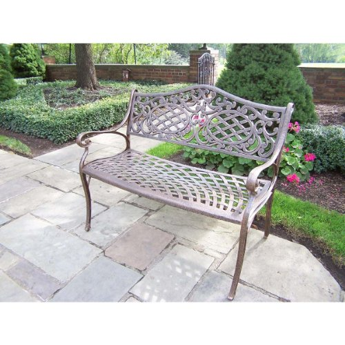 Oakland Living Mississippi Cast Aluminum Settee Bench, Antique Bronze