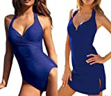 Shape Slimming Push up One-piece Monokini with a Skirt Swimsuit Swimwear Bathing Suit (Blue, L (US2))