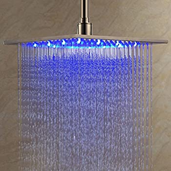 Beelee Contemporary 12 inch Stainless Steel LED Rainfall Shower Head with Color Changing LED Light