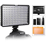 LED Video Light, SAMTIAN Ultra Bright Dimmable Camera Photo Light Panel for Canon Nikon Pentax Panasonic Sony Samsung and Olympus Digital SLR, 950LM, 93CRI+, Rechargeable Battery Included (Color: Black, Tamaño: TL-160-Fba)