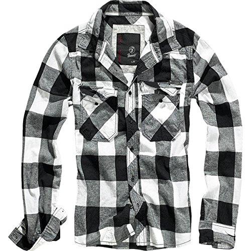 Brandit Uomo Check Camicia Bianco / Nero taglia M