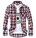 (ハイクルーズ) HIGH CRUISE ギンガム チェック 柄 ネルシャツ メンズ トップス ストリート 長袖 シンプル ファッション タイト カットソー カジュアル アウター ユニセックス Y シャツ (赤 白 XL)