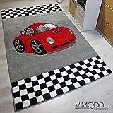 VIMODA Moderner Kinder Teppich Car Auto Rennwagen Kurzflor Frisee versch Größen – ÖKO TEX Zertifiziert, Maße:160 cm x 230 cm
