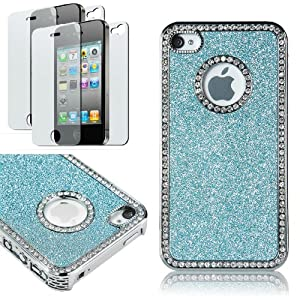 Pandamimi Deluxe blue Chrome Bling Crystal Rhinestone Hard Case Skin Cover for Apple iPhone 4 4S 4G With 2 Pcs Screen Protector