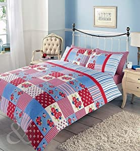 Bedding quilt cover bed set red navy blue green claret girls