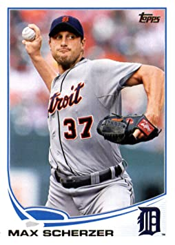 2013 Topps Baseball Card # 37 Max Scherzer Detroit Tigers In Protective Screwdown