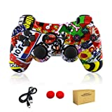 dainslef PS3 controller Wireless Bluetooth Double Shock Sixaxis Remote Gamepad for Sony PS3 PlayStation (Graffiti) (Color: Graffiti)