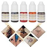 Tattoo Pigment, 5Pcs Semi-Permanent Makeup Ink Tattoo Color for Eyebrow Lips Eye Line(5 color/set) (Color: 5 color/set)