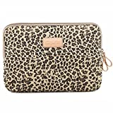 BagsFromUs Lisen Canvas Fabric Stylish Leopard's Spots Leopard Print Style 7-15.6 Inch Laptop Sleeve Computer Protective Carrying Case Bag Cover for iPad / Macbook / Dell / HP / Lenovo / Sony / Toshiba / Acer etc. (Yellow, 11.6 inch)