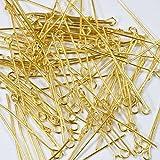 【クラフトパーツのチェロ P5.1.100 】 9ピン 100個セット 長さ 30mmゴールド カラー 線径 0.6×mm