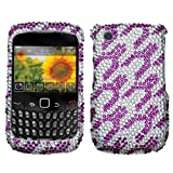 Asmyna BB8520HPCDM121NP Dazzling Luxurious Bling Case for BlackBerry Curve 8520/8530/9300/9330 - 1 Pack - Retail Packaging - Purple White Rocket