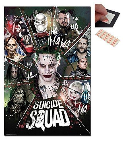 Confezione - 2 Articoli - Suicidio Cerchio Di Squadra Poster - 91.5 x 61cms (91.4x61cm) e un Set di 4 Cuscinetti Adesivi Riposizionabili Per Facile Fissaggio a Parete