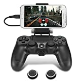 PS4 Controller Phone Clip, TAACOO Foldable Game Controller Clamp Mobile Phone Holder Smartphone Mount for Plastation 4 (Black) (Color: Black, Tamaño: Black)