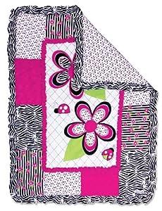 Trend Lab Zahara Zebra Crib Quilt, Pink/Black/White