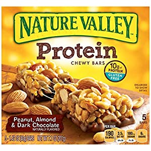 Nature Valley  Peanut, Almond and Dark Chocolate Protein Chewy Bars, 5 Count Box