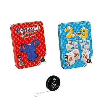 Pack 2 Jeux GIGAMIC: 6 QUI PREND + 2 SANS 3 + 1 yoyo BLUMIE