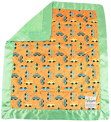 "My Blankee Beep Beep Minky Orange w/ Minky Dot Lime Baby Blanket, 30"" x 35"""