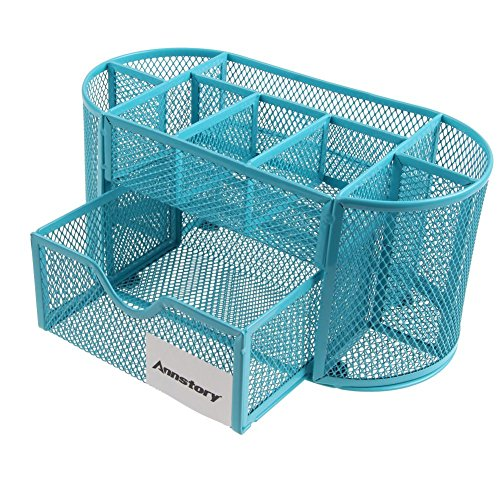 Desk Organizer, Annstory Mesh Office School Supplies Desktop Organizer Caddy w/ Drawer, Space Saving (9-part Blue) (Teal Office Supplies compare prices)