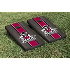 New Mexico State Aggies Cornhole Game Set Onyx Stained Striped Wooden by Gameday Cornhole