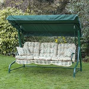 Alfresia Balancelle De Jardin 3 Places Avec Coussin D 39 Assise De Luxe Vert Cheltenham