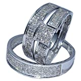 White Gold Trio Wedding set Mens womens wedding rings matching 0.53ct w diamond
