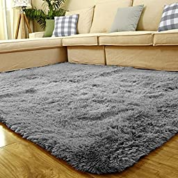 Sytian® 4 Feet X 5 Feet 4.5cm Thick Modern Shaggy Area Rugs Soft Non-slip Home Decorative Area Rug Large Size Bedroom Living Room Carpet (Silver Grey)