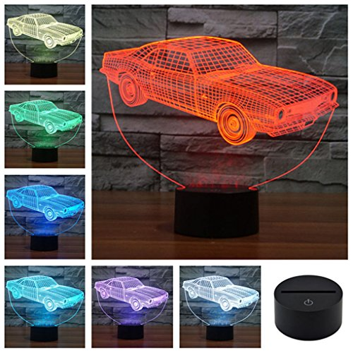 Classic Muscle Cars Crown Colorful Sport Patterns Acrylic Visual Touch Table Lamp Bar Art Decor USB 3D LED Desk Night Light 3D-TD127 (Car Table Lamp compare prices)