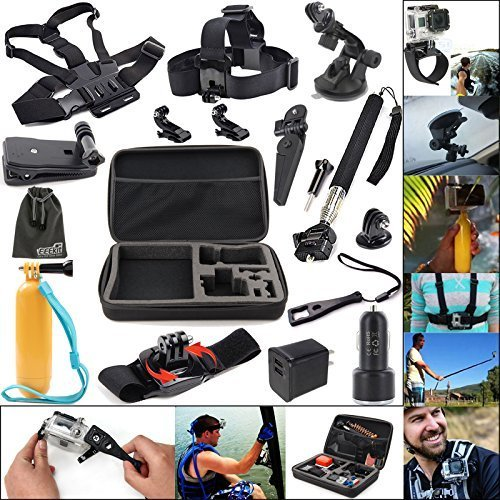 EEEKit 11-in-1 Travel Kit for GoPro HERO4 Session/HERO+ LCD/HERO 4 Black/Silver/HERO 3+,Carry Case+Head/Chest Harness/Selfie Stick Pole/Floating Grip/Car/Clip/Wrist/Tripod Mount+USB Wall/Car Charger (11-in-1 Travel Kit)