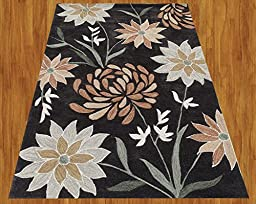 Homemusthaves Black Gray Brown Green New Modern Contemporary Floral 3D Polyester Wool Area Rug Carpet (2.6x4 Feet)