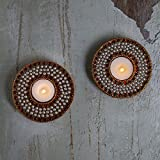 Store Indya Tea Light Holder Set Of 2 With Studded Beads And Jewels Votive Candle Home Festive Decorations For...