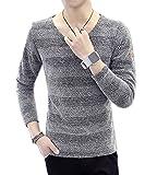 【 Smaids×Smile 】 メンズ シャツ 長袖 ボーダー ニット 柄 色 きれいめ カジュアル シンプル (グレー XL)