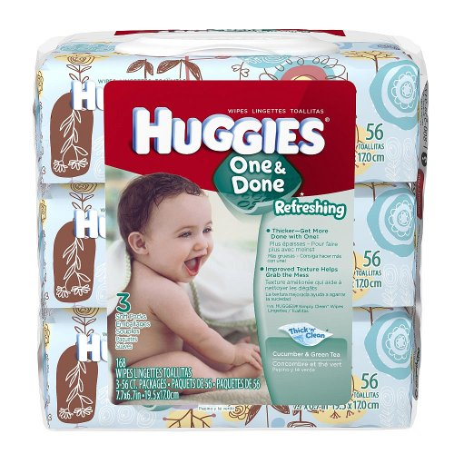 Huggies One & Done Baby Wipes, Soft Pack, Cucumber & Green Tea, 3 Packs of 56 Count, 168 Total Wipes - 1