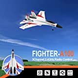 Cocal Interesting Lifelike Electric WLtoys A100 SU-27 3CH Fighter Toy, 2.4G RC Airplane RTF Glider Suitable for Age 14+, EPP Composite Material (White) (Color: White)